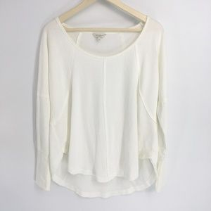 Lucky Brand Scoop Neck White Thermal